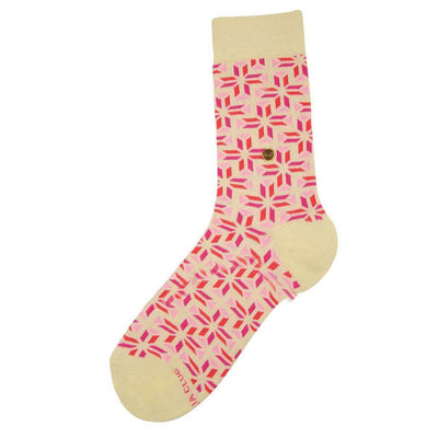 The Moja Club Beige Patterned Midcalf Socks