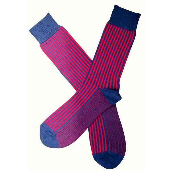 Bassin and Brown Navy Vertical Stripe Midcalf Socks