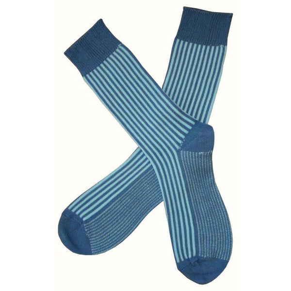 Bassin and Brown Blue Vertical Stripe Midcalf Socks
