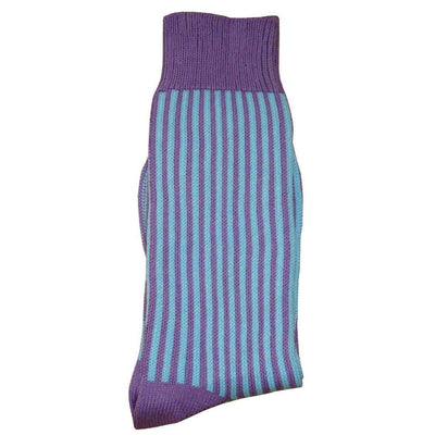 Bassin and Brown Lilac Vertical Stripe Midcalf Socks