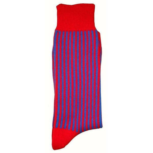 Bassin and Brown Red Vertical Stripe Midcalf Socks