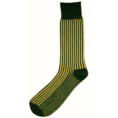 Bassin and Brown Green Vertical Stripe Midcalf Socks