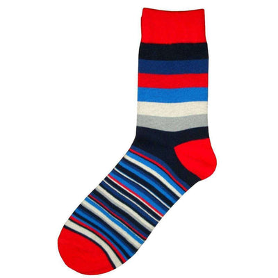 Bassin and Brown Red Medium and Thin Stripe Midcalf Socks