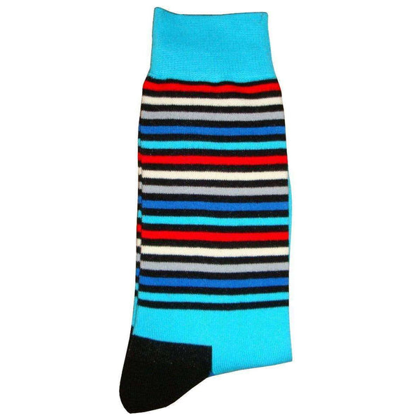 Bassin and Brown Blue Thin Multi Stripe Midcalf Socks