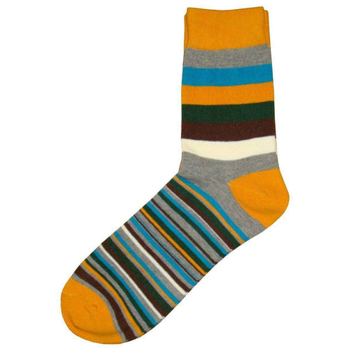 Bassin and Brown Gold Medium and Thin Stripe Midcalf Socks