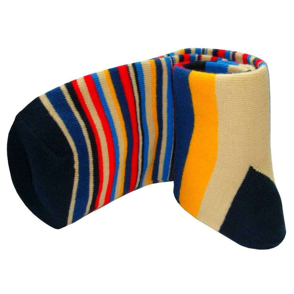 Bassin and Brown Navy Medium and Thin Stripe Midcalf Socks