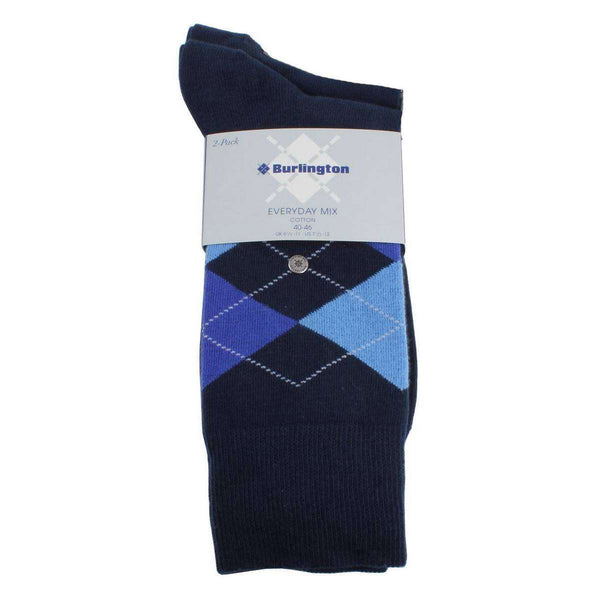 Burlington Blue Everyday Mix 2 Pack Argyle Socks