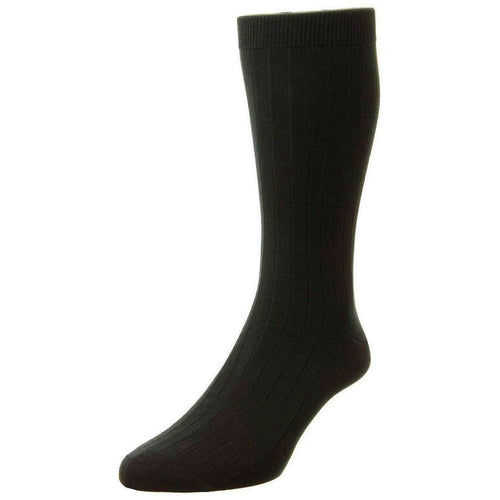 Pantherella Black Pembrey Sea Island Cotton Socks