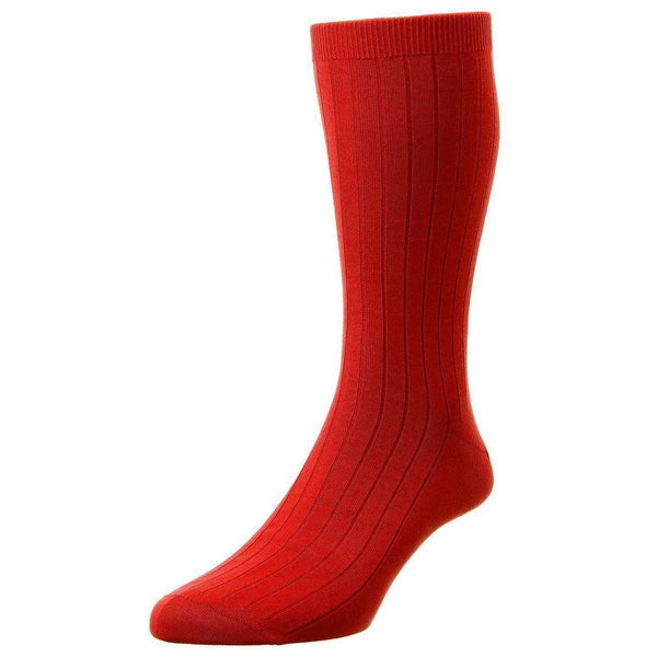 Pantherella Red Pembrey Sea Island Cotton Socks