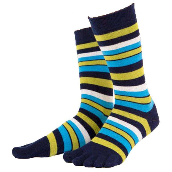 TOETOE Navy Essential Striped Mid Calf Socks