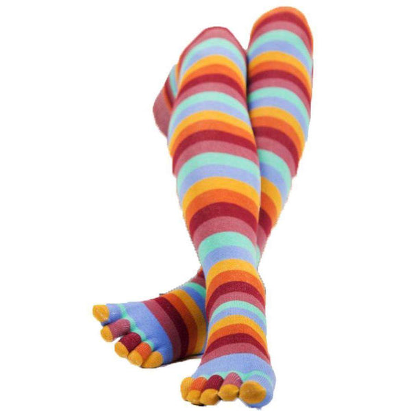 TOETOE Red Essential Over The Knee Striped Socks