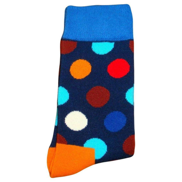 Bassin and Brown Navy Contrast Heel and Toe Spotted Socks