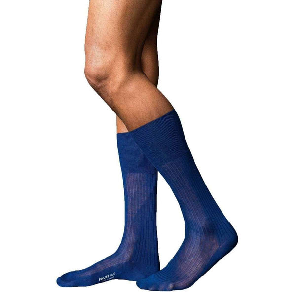 Falke Blue No10 Pure Fil d'Ecosse Smooth Ribbed Knit Socks