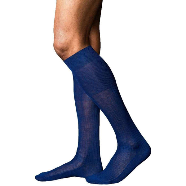 Falke Blue No10 Pure Fil d'Ecosse Smooth Ribbed Knit Knee High Socks