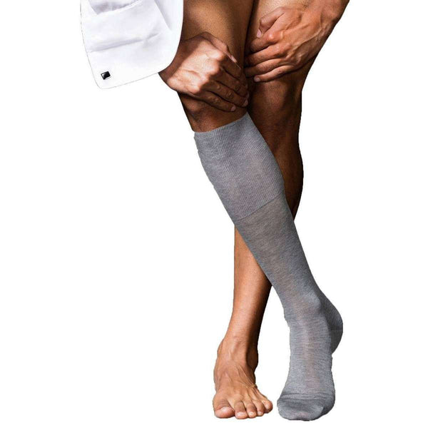 Falke Grey No9 Pure Fil d'Ecosse Smooth Flat Knit Knee High Socks