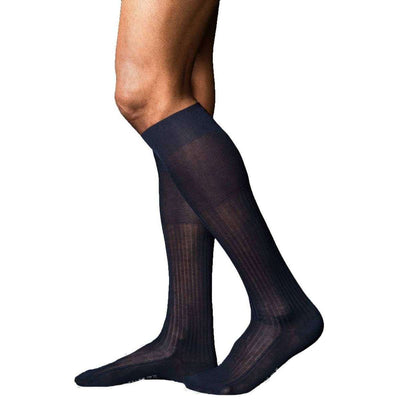 Falke Navy No10 Pure Fil d'Ecosse Smooth Ribbed Knit Knee High Socks