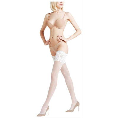 Falke White Seidenglatt 15 Den Stay Up Transparent Floral Stockings
