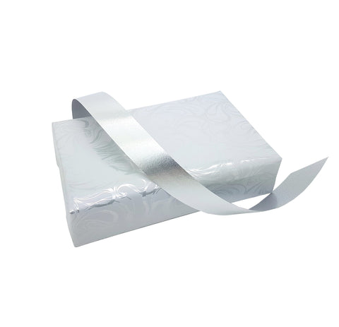 Metallic Silver Poly Tear Ribbon-Silver Polypropylene Ribbon