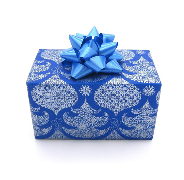 Royal Blue Xmas Tree Wrapping Paper