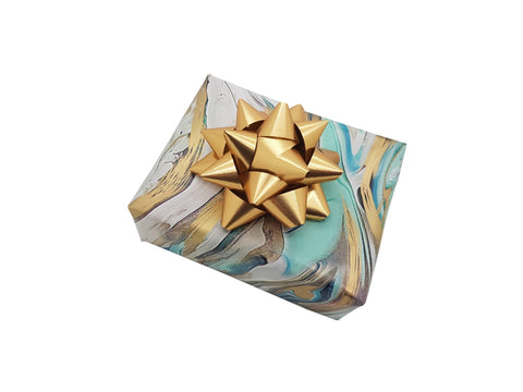 Aqua Teal Gold Marbled Wrapping Paper