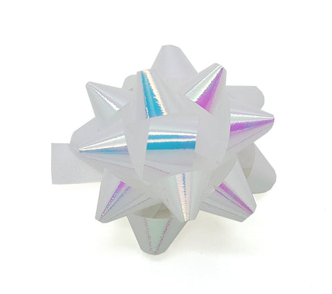 Pearly White Iridescent Star Bows-Pearly Self-adhesive Bows