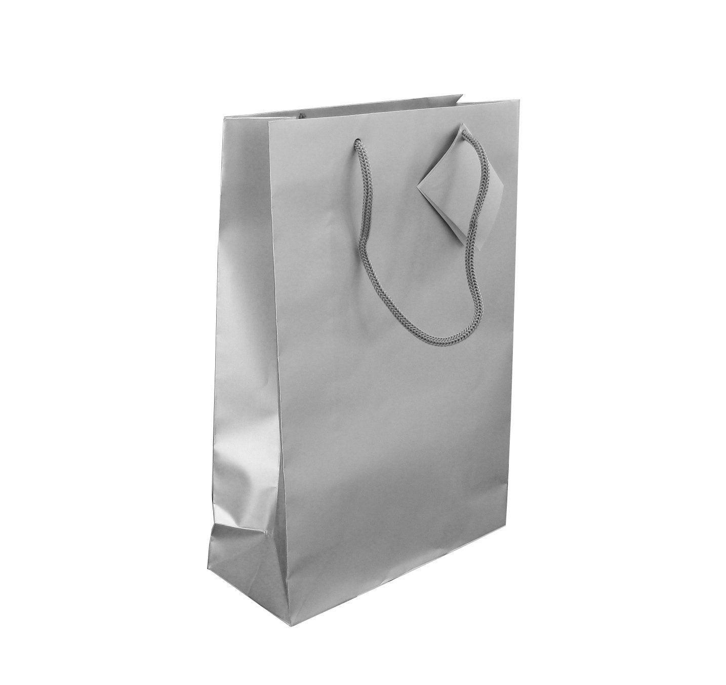 Silver Gift Bag-Cord Handle Shopper Silver
