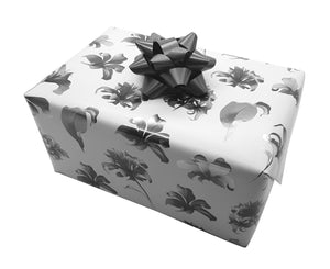 Floral Monochrome Strong Gift Wrap-Grey and White