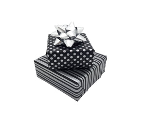 Black and Silver Reversible Gift Wrap-Polka Dot and Stripe