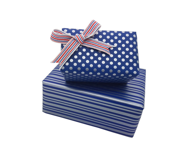 Reversible Cute Polka Dot and Stripe Blue-Silver Gift Wrap Roll