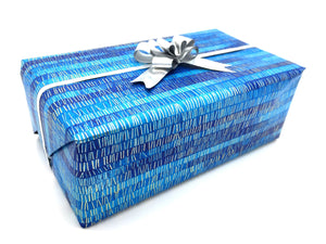 Vibrant Blue Ombre Stripe Wrapping Paper
