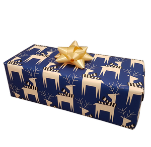Cute Navy Blue Reindeer Xmas Wrapping Paper Sheets