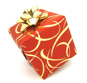 Red and Gold Ribbon Wrapping Paper-Red Xmas Counter Roll