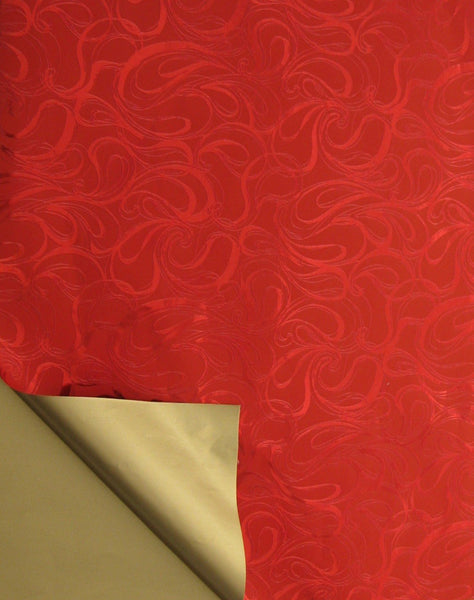 Rich Red Metallic Swirl and Gold Double-sided Wrapping Paper