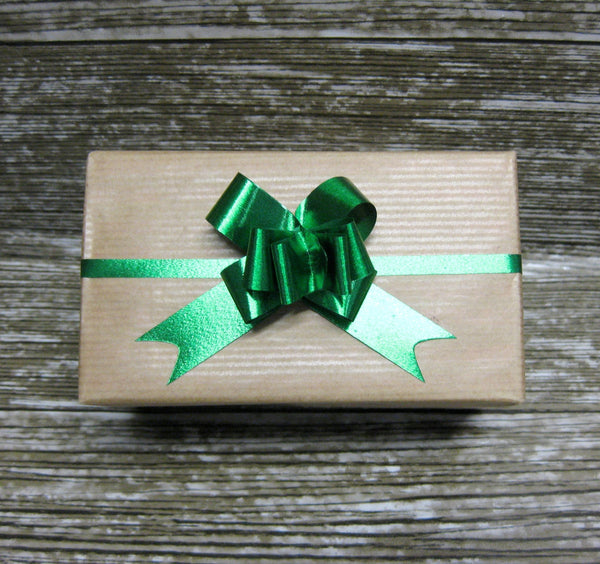 Metallic Green Pull Bows - Pack of 50