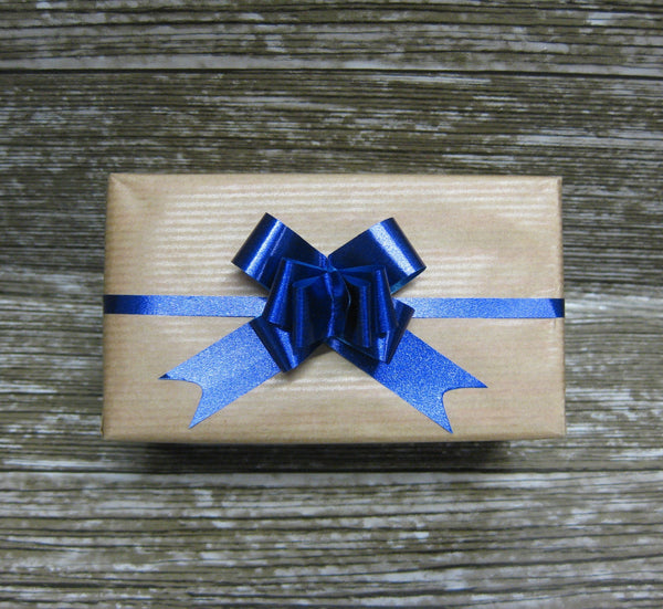 Small Metallic Blue Pull Bow-Small Blue Bow
