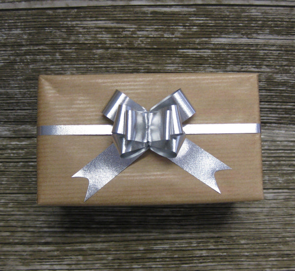 Small Silver Brushed Metallic Pull Bow