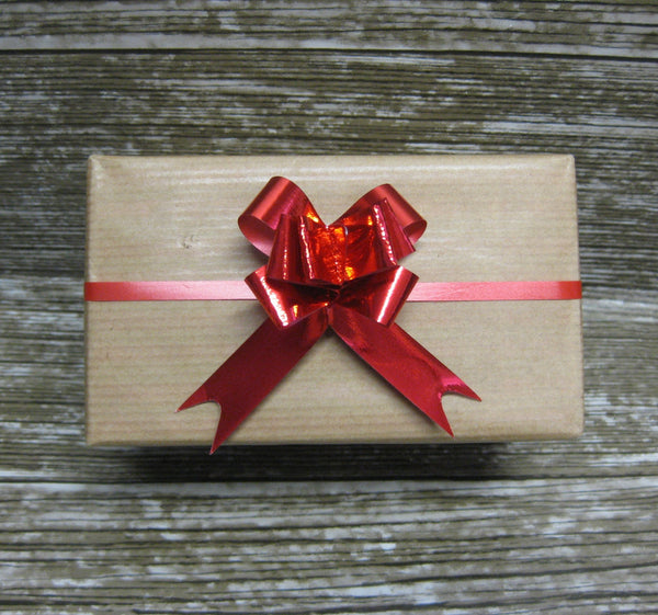 Small Shiny Red Pull Bows-Small Red Christmas Bows