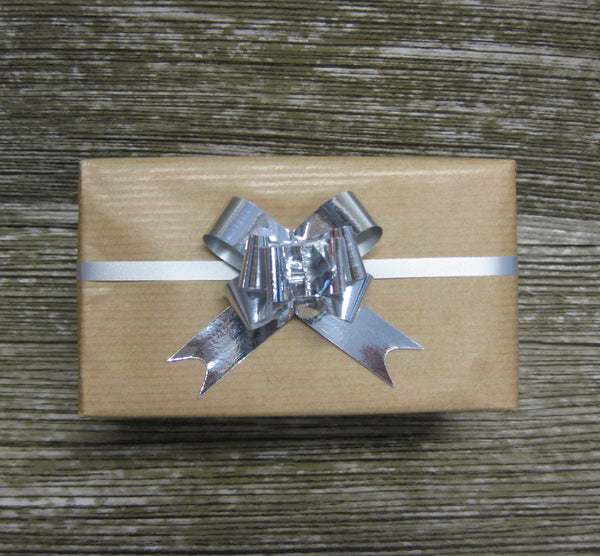 Small Shiny Silver Pull Bows-Small Silver Bows
