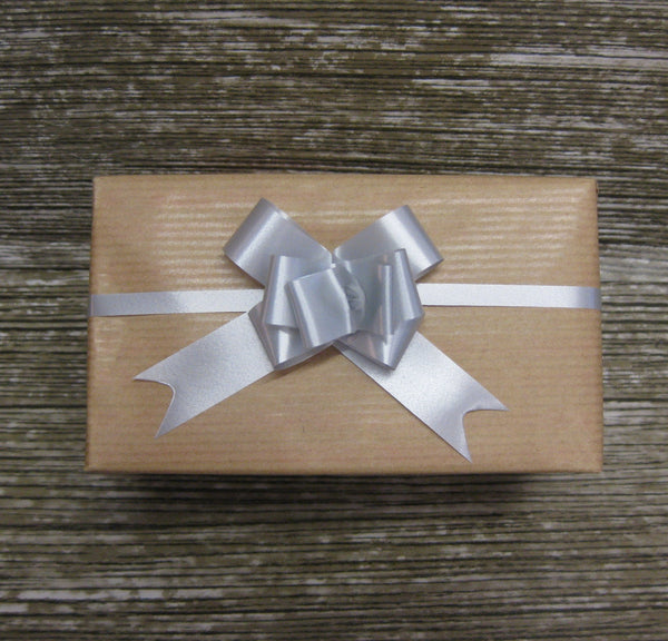 Small Pastel Silver Pull Bows-Pale Grey Pull Bows