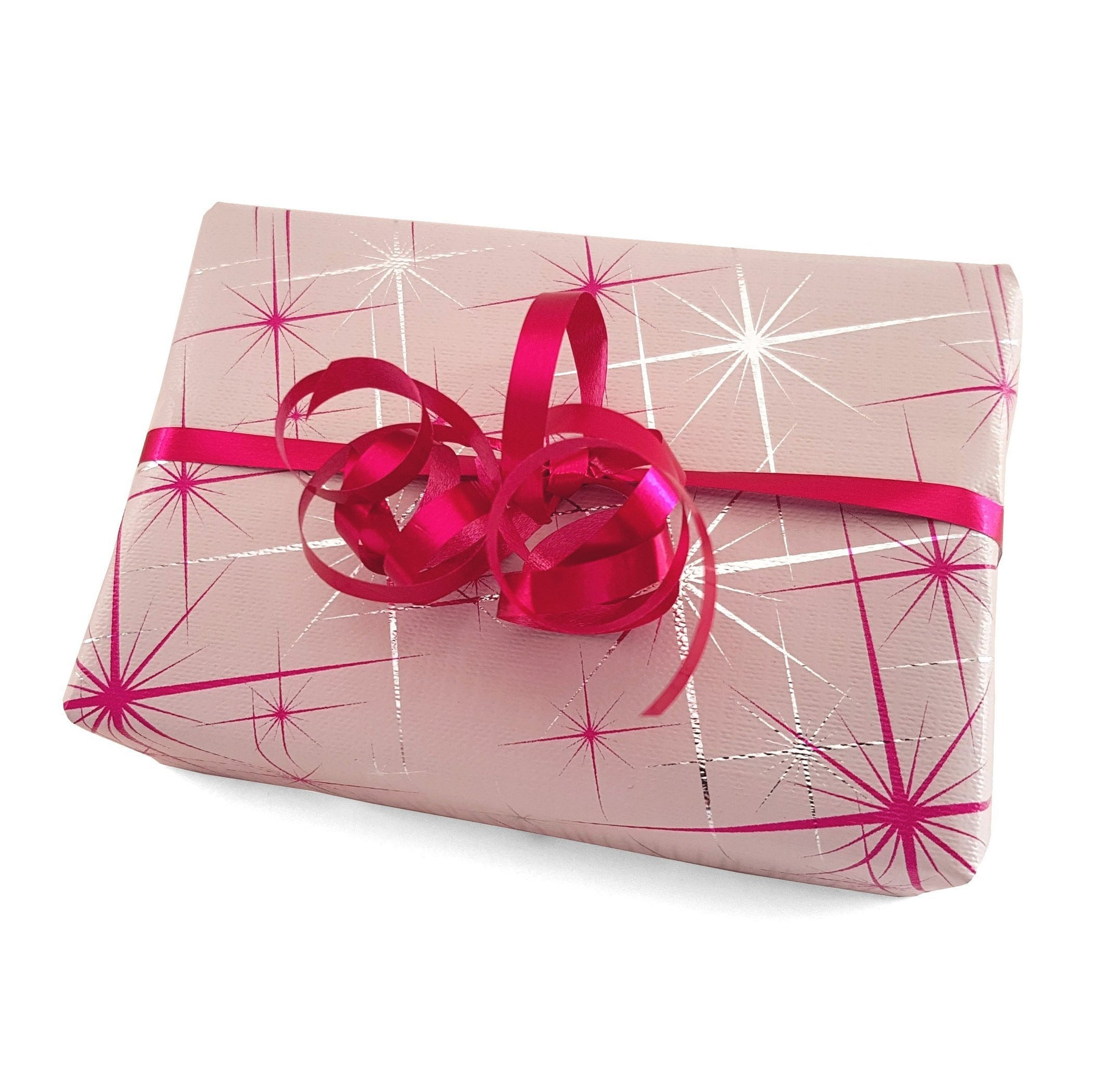 White Xmas Gift Wrap Paper-Hot Pink Design Wrapping Paper