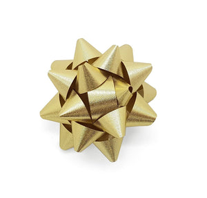Textured Metallic Gold Star Bow-Metallic Gold Gift Bow