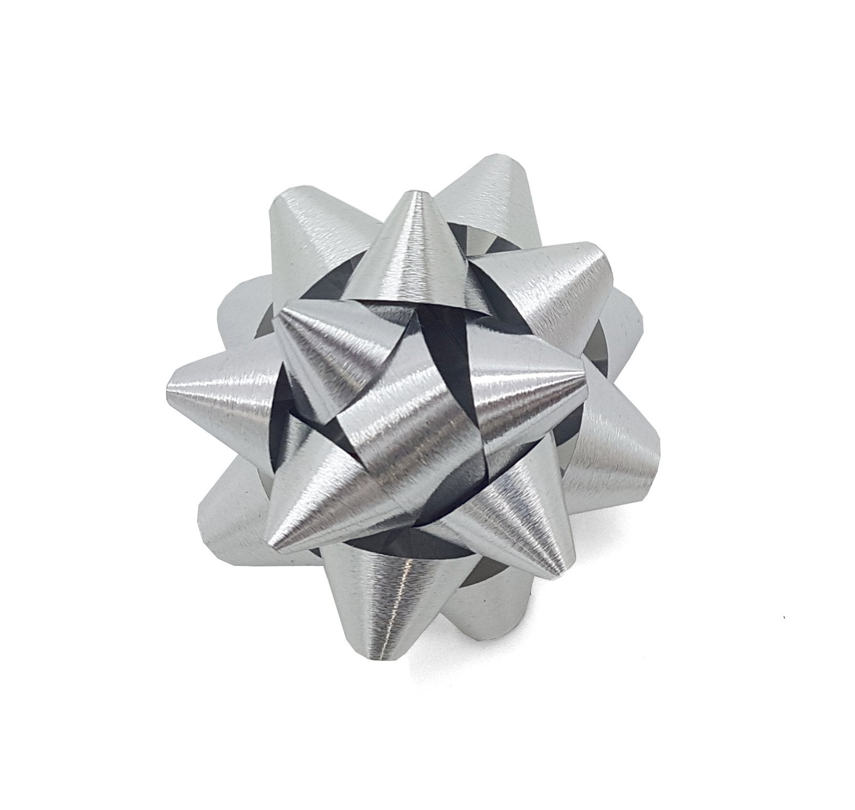 Matte Metallic Silver Star Bow-Silver Brushed Metal Gift Bow