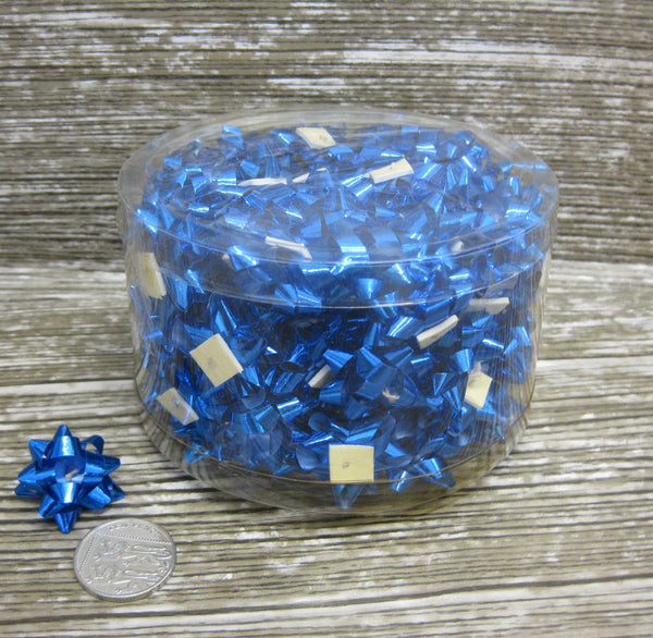 Shiny Blue Mini Star Bows - Tub of 100