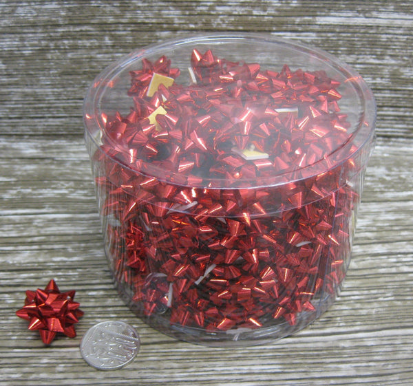 Shiny Red Mini Star Bows - Tub of 100 - Hallons