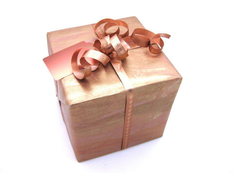 Gift Wrap Roll Marble Design - Copper & Gold
