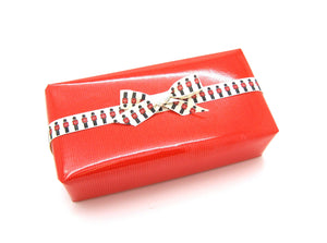 Red Gift Wrap - Glossy Pinstripe - Hallons