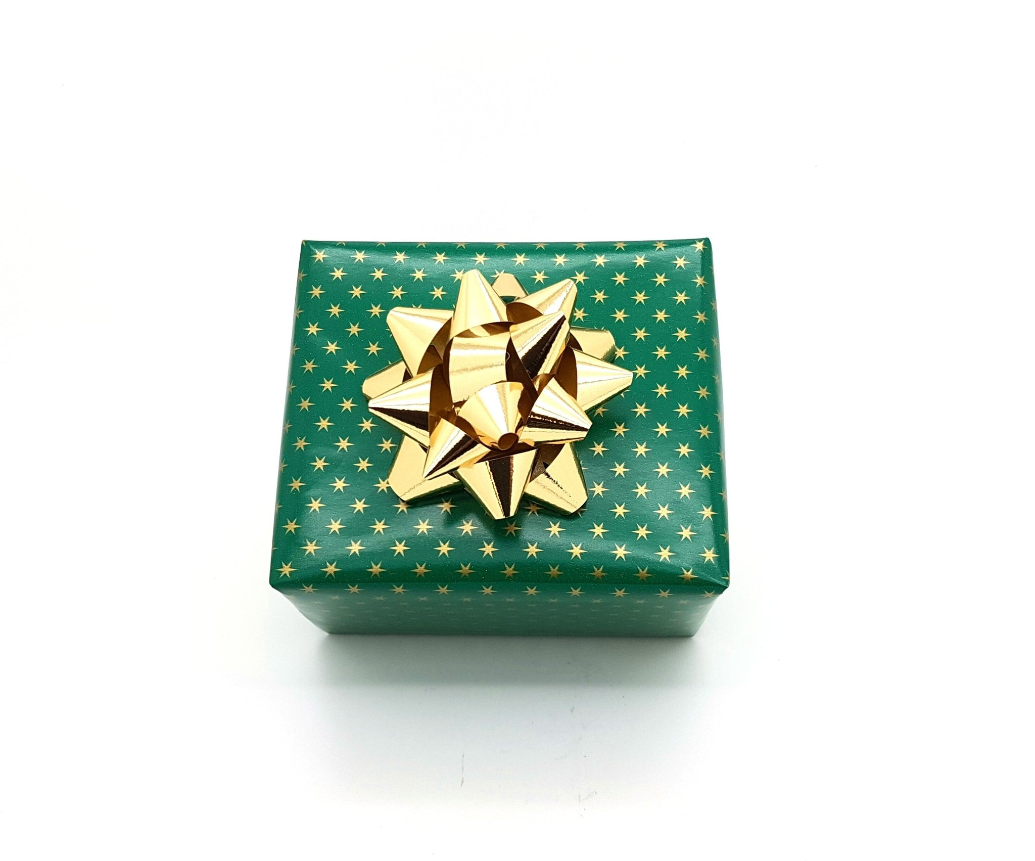 Glossy Green and Gold Stars Wrapping Paper-Green Xmas Wrap