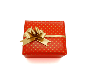 Red Gift Wrap - Tiny Gold Stars