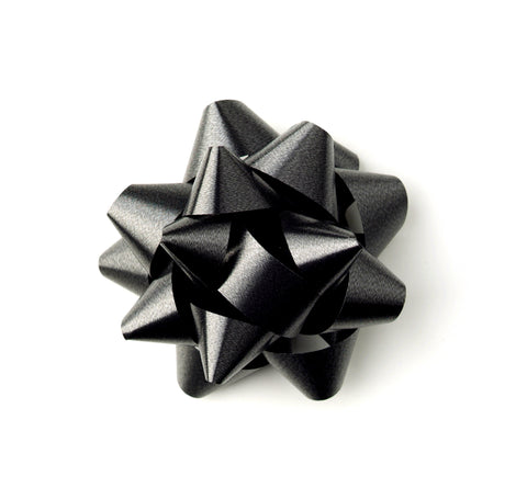 Black Gift Bow-Black Self-adhesive Star Bow