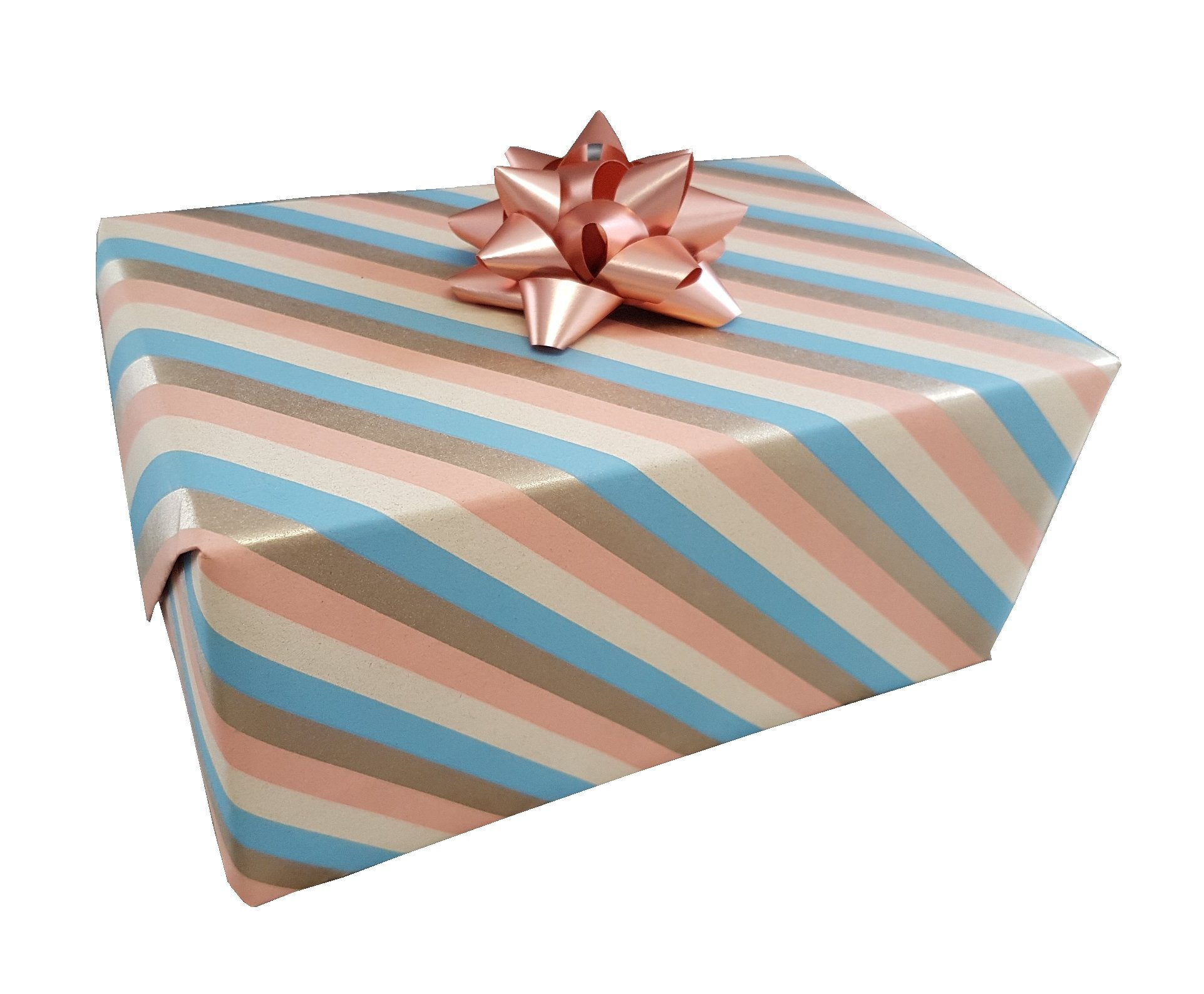 Gift Wrap Sheets Pastel Stripe and Gold Recycled - Hallons